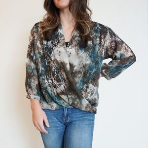 [Kut from the Kloth] faux wrap abstract print top